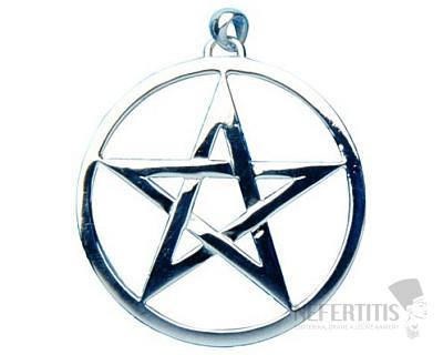 Pentagram kruh velký stříbro Ag 925
