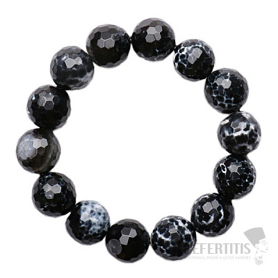 Achát černý luxusní náramek fazetované korálky