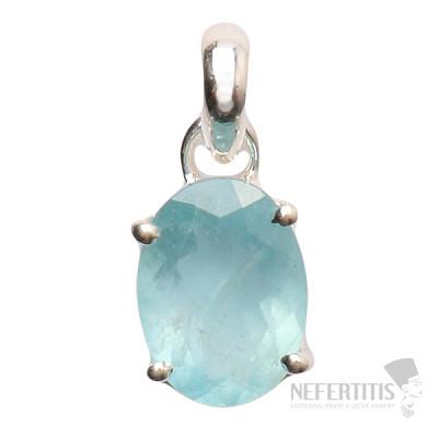 Akvamarín broušený krystal  přívěsek stříbro Ag 925 P724