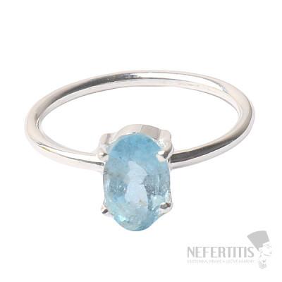 Akvamarín broušený krystal prsten stříbro Ag 925 P897
