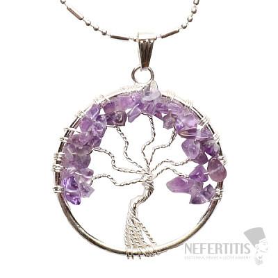 Ametyst přívěsek Strom života s řetízkem
