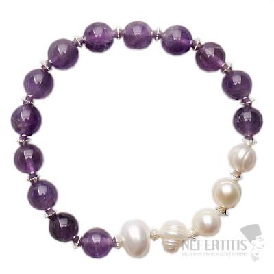Ametyst a perly náramek korálkový