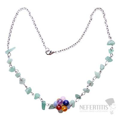 Avanturín náhrdelník sekaný s čakrovými korálky na řetízku