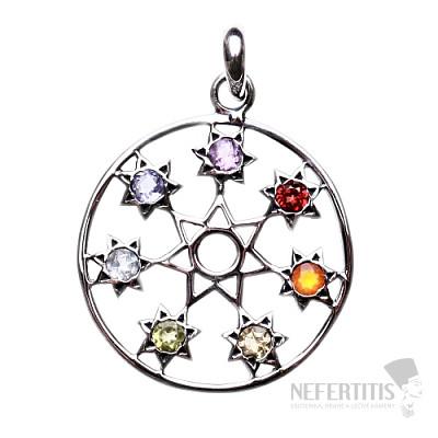 Čakrový přívěsek hvězdy v kruhu stříbro Ag 925