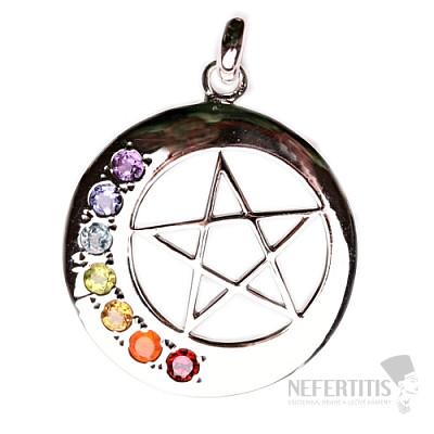 Čakrový přívěsek pentagram v kruhu stříbro Ag 925
