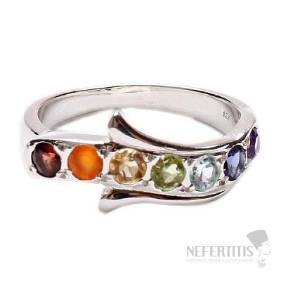 Čakrový prsten Nekonečno stříbro s polodrahokamy Ag 925