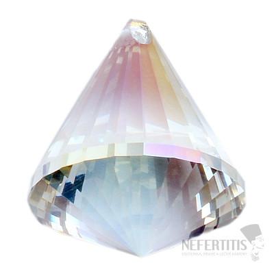 Kužel Feng Shui broušený křišťál duhově metalizovaný Bright pearl