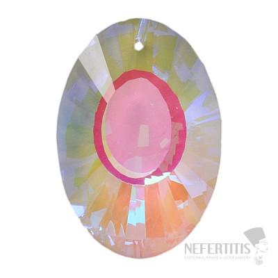 Ovál Feng Shui broušený křišťál duhově metalizovaný Dark pearl