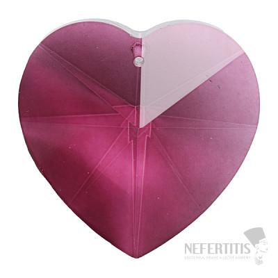Srdce Feng Shui broušený křišťál fialový