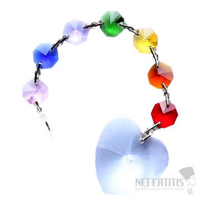 Láskyplnost Feng Shui závěs do okna z barevných křišťálů