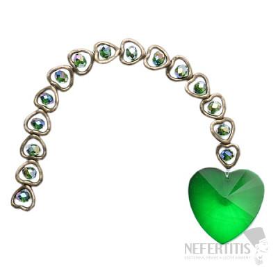 Láskyplnost Feng Shui závěs do okna ze zelených křišťálů