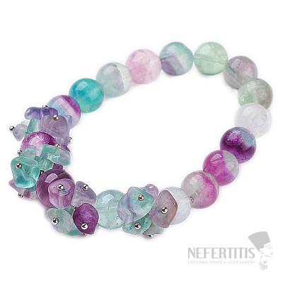 Fluorit multicolor náramek extra korálky a kousky kamene