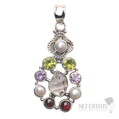 Herkimer diamant designový přívěsek stříbro Ag 925 JW21936