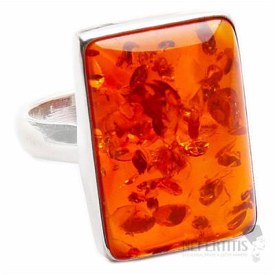 Jantar prsten stříbro Ag 925 R613