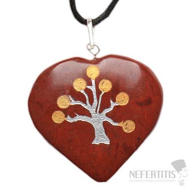 Jaspis červený přívěsek srdce se Stromem života