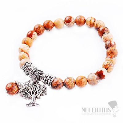 Jaspis obrázkový náramek extra korálkový se Stromem života