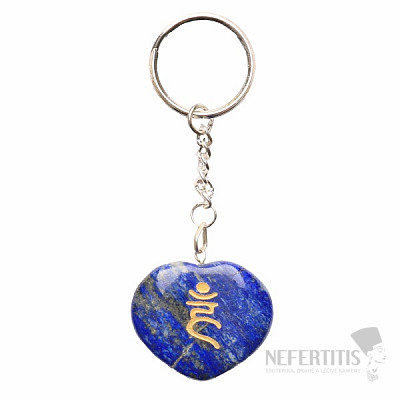 Lapis lazuli klíčenka srdíčko se symbolem Ham