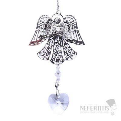 Anděl a srdce Feng Shui závěs do okna z kovu a duhového křišťálu