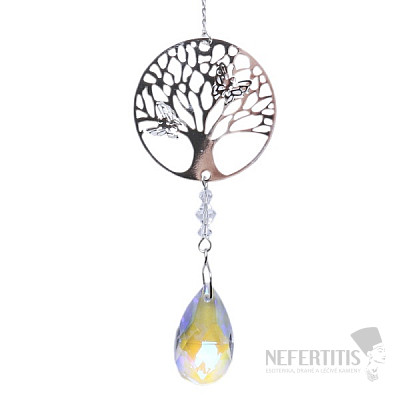 Strom života Feng Shui závěs do okna z kovu a duhového křišťálu