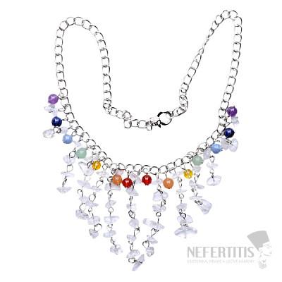 Křišťál náhrdelník sekaný s čakrovými korálky na řetízku