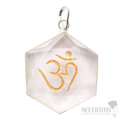 Křišťál přívěsek hexagram se symbolem Óm