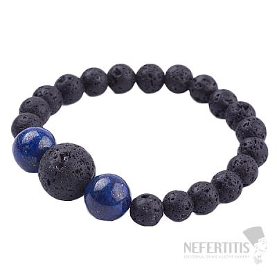 Lávový kámen a lapis lazuli náramek korálkový