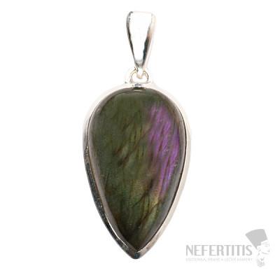 Labradorit purpurový přívěsek stříbro Ag 925 P595