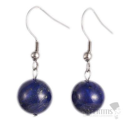 Lapis lazuli náušnice velké kuličky a nerezová ocel