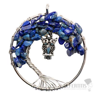 Lapis lazuli přívěsek Strom života se sovou