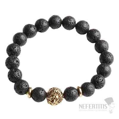 Náramek z lávového kamene s hlavou lva zlatý Bellezza Nera III