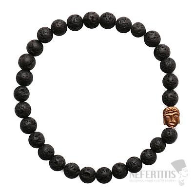 Náramek z lávového kamene s hlavou Buddhy mosazný