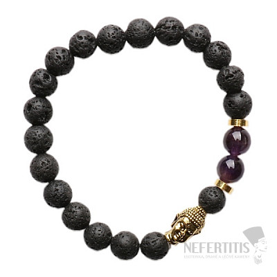 Lávový kámen a ametyst náramek buddhistický z korálků zlatý