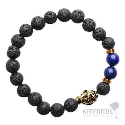 Lávový kámen a lapis lazuli náramek buddhistický zlatý