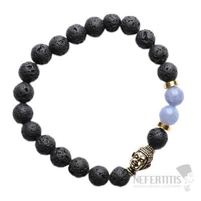 Lávový kámen a modrý křemen náramek buddhistický z korálků zlatý
