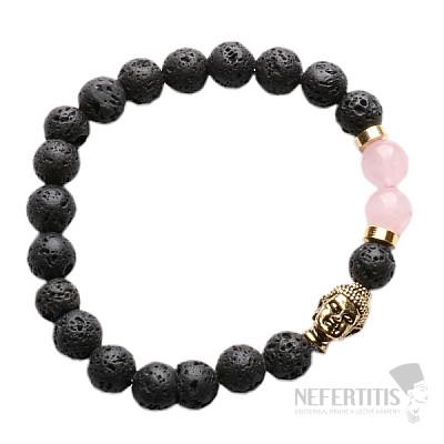 Lávový kámen a růženín náramek buddhistický zlatý