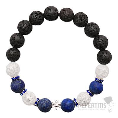 Lávový kámen, lapis lazuli a křišťál náramek RB Design 20