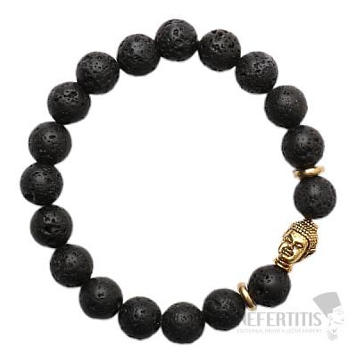 Náramek z lávového kamene s hlavou Buddhy zlatý Bellezza Nera
