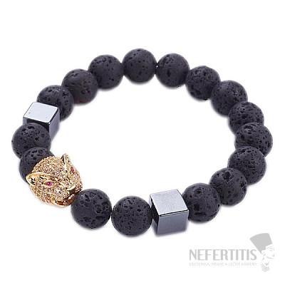 Náramek z lávového kamene s hlavou jaguára zlatý Bellezza Nera