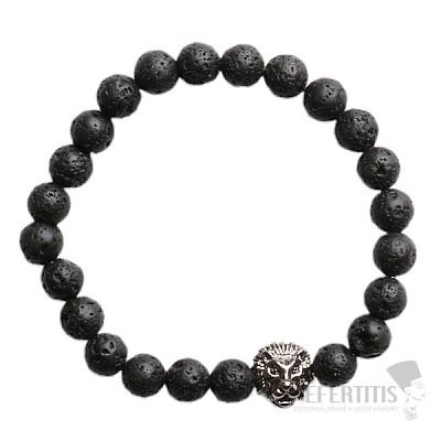 Náramek z lávového kamene s hlavou lva antracit Bellezza Nera