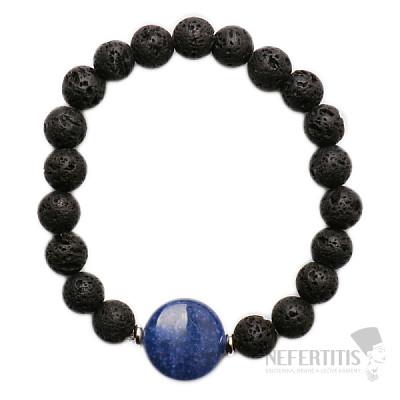 Náramek z lávového kamene s modrým kamenem