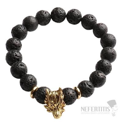 Náramek z lávového kamene s hlavou vlka zlatý Bellezza Nera