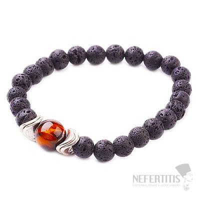 Lávový kámen a tygří oko v kovu náramek korálkový