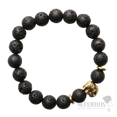 Náramek z lávového kamene se slonem zlatý Bellezza Nera