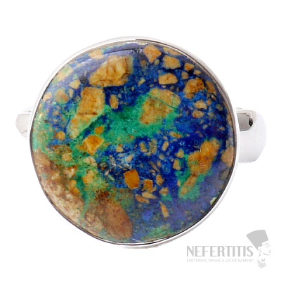 Malachit v azuritu prsten stříbro Ag 925 R157