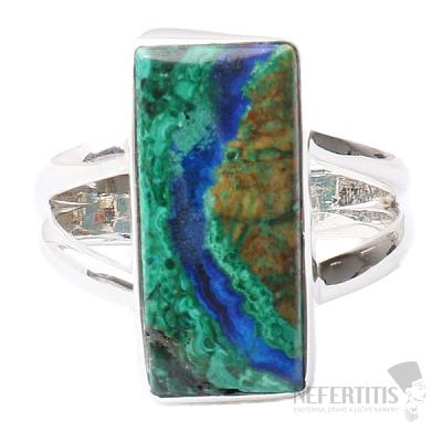 Malachit v azuritu prsten stříbro Ag 925 R163