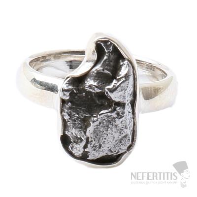 Meteorit Campo del Cielo prsten stříbro Ag 925 R826
