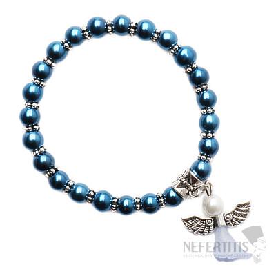 Dětský náramek ze skleněných perliček námořnické modři s andělíčkem