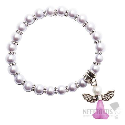 Dětský náramek z lila skleněných perliček s andělíčkem