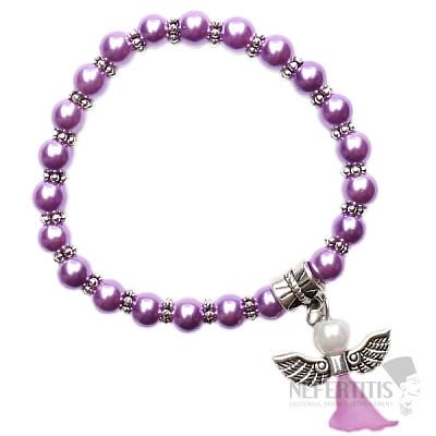 Dětský náramek z fialových skleněných perliček s andělíčkem