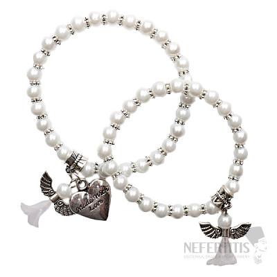 Matka a dcera náramky z bílých perliček s andělíčky a srdcem